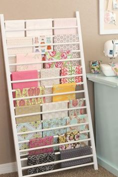 DIY Craft Room Ideas and Craft Room Organization Projects - Crib Side Repurposed into Fabric Storage - Cool Ideas for Do It Yourself Craft Storage - fabric paper pens creative tools crafts supplies and sewing notions Sewing Room Storage, Sewing Room Organization, Craft Room Storage, My Sewing Room, Fabric Storage, Organization Ideas, Storage Ideas, Craft Rooms, Ribbon Storage
