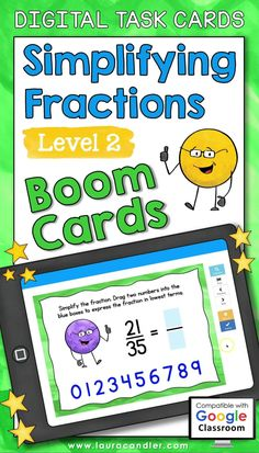 Simplifying Fractions Level 2 Boom Cards™ are a fun way for students to practice reducing fractions to lowest terms. This deck of 30 self-checking, interactive digital task cards is perfect for both classroom use and distance learning! #BoomCards #DigitalTaskCards #DistanceLearning #fractions #mathfun Simplifying Fractions, Teaching Fractions, Teacher Hacks, Best Teacher, Fun Math, Maths, Active Engagement, Engage In Learning, Math Task Cards