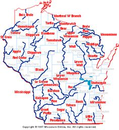 Wisconsin Canoe and Kayak Rivers. Use the navigation buttons below if you cannot see or use this image map.
