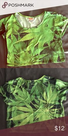 Marijuana crop top marijuana crop top, worn 5 times at the most. Love this crop top but don't have anywhere to wear it! Like, share, & comment! Spencers Tops Crop Tops