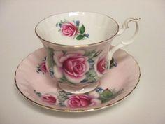Royal Albert Bone China England Tea Cup and Saucer Set Pink Roses 4504 #RoyalAlbert