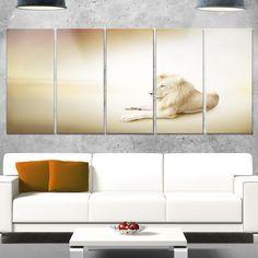 Designart 'Relaxing King of Animals' Animal Glossy Metal Wall Art