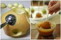 Mini Caramel Apples = more caramel per apple bite and less messy = awesome! Köstliche Desserts, Delicious Desserts, Dessert Recipes, Yummy Food, Mini Carmel Apples, Caramel Apples, Caramel Bits, Apple Caramel, Caramel Candy