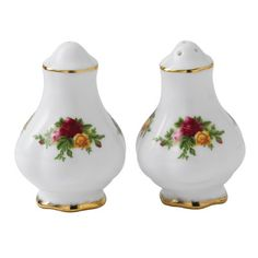 Royal Albert These Salt and Pepper shakers have captured the Old Albert style of simple elegance and regal charm. An adorable addition to the Royal Albert collection these pieces match perfectly with any of the other Royal Albert collection. Royal Albert, Tea Pot Set, Kitchen Canisters, Salt And Pepper Set, Canister Sets, China Patterns, Simple Elegance, Vintage Glassware, Bone China