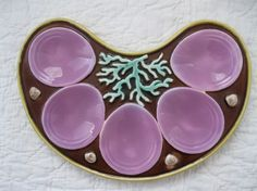 Rare Crescent Shaped English Majolica Oyster Plate--I own one of these plates!