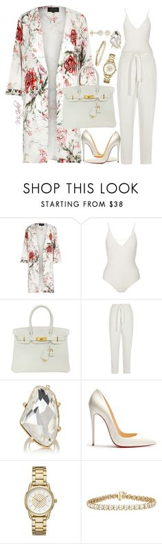 """""""Untitled #205"""" by urbancouturemsjackie ❤ liked on Polyvore featuring River Island, Miss Selfridge, Hermès, Kenneth Jay Lane, Christian Louboutin, Kate Spade and Belk & Co."""