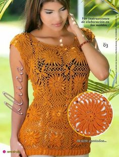 Patrones de blusa tejida con ganchillo