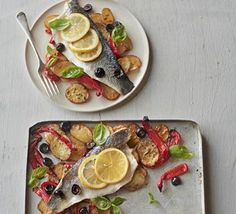 Roast sea bass & vegetable traybake - an easy and healthy meal.  bbcgoodfood