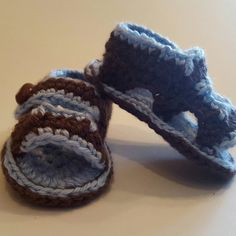 Cute baby boy crocheted sandals with football button
