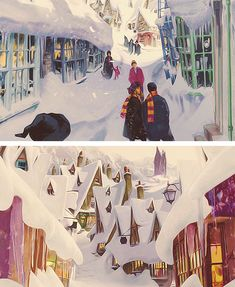 """Hogsmeade looked like a Christmas card; the little thatched cottages and shops were all covered in a layer of crisp snow; there were holly wreaths on the doors and strings of enchanted candles hanging in the trees."""