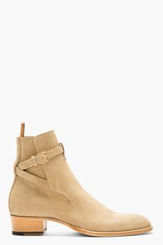 SAINT LAURENT Beige Suede STRAPPED ANKLE BOOTS