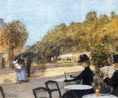 At the café by Childe Hassam 1889