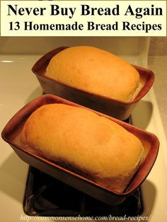 Bread Recipes - Sandwich Bread, Basic Sourdough Bread, Potato Bread using Leftover Mashed Potatoes, Crusty French Bread, Gluten free and sprouted bread.