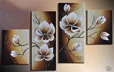 100 Handpainted Wood Framed Oil Wall Art Warm Day Yellow Flowers Bloom Home Decoration Abstract Floral Oil Painting on Canvas 4pcsset Mixorde * Check out this great product.