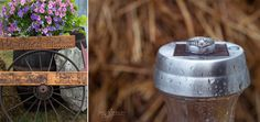 """close up wedding rings on a solar powered light shot with a Macro Lens and signs outside the tent that say """"he asked and... she said yes!!"""""""