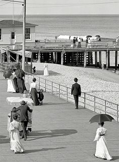 The Jersey Shore.  The Boardwalk at Asbury Park circa 1905.