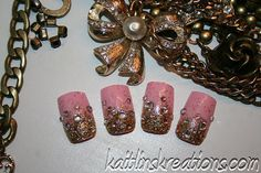 Pink Champagne Artificial Nail Art by KaitlinsKreationsart on Etsy, $16.80