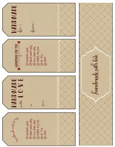 free printable gift tags, handmade with love