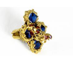 'Quatro' cocktail ring in gold plated silver and synthetic stones