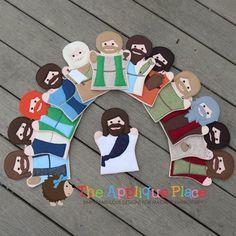 Jesus and His 12 disciples Puppet Set-jesus, disciples, apolstles, bible, bible character, bible puppet, finger puppet
