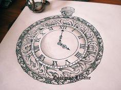 Pocket watch design by BeautyLoveDivine on DeviantArt Pocket Watch Tattoos, Pocket Watch Drawing, Pocket Watch Tattoo Design, Time Tattoos, New Tattoos, Sleeve Tattoos, Cool Tattoos, Tatoos, Clock Tattoo Design