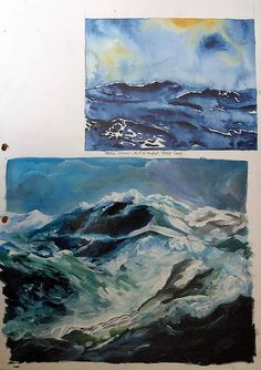 This International GCSE sketchbook page example explores wet on wet painting techniques using watercolour and acrylic - learning from artist models such as Hazel Soan.
