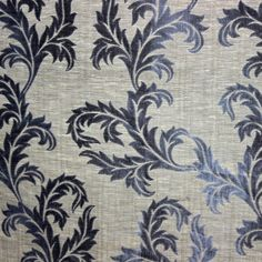 Midnight Blue N Grey Poly Jacquard Weave Fabric By by FabricMart