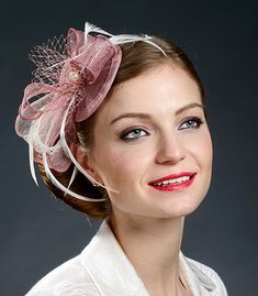 Pink and ivory petite fascinator hat for weddings, parties, races- New design, new colours!