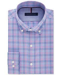Tommy Hilfiger Men's Slim-Fit Non-Iron Purple Plaid Dress Shirt