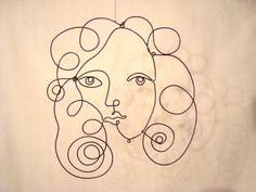 Woman's Face  hanging wire sculpture casts beautiful by EleMcKay, $65.00