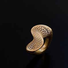 """14Kgold. Hella Ganor, Israel. """"...design and production techniques which bring together handicraft and 3-D computer printing"""""""