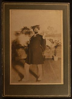 I believe the name written on the back of this is Joseph Posdrasnik.  There was a Joseph Podrasnik born in 1877 in Illinois, died 1940 in New Hampshire, but I'm not positive this is the same one.  Anyway, he's puttin' on a show.