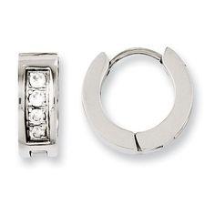 Stainless Steel CZ Hinged Hoop Earrings SRE676