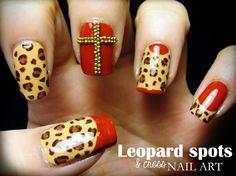 Leopard Spots & Cross nail art by Pinkflyingcow