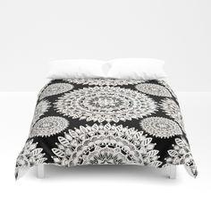 Black and Metallic White Floral Textile Mandala Duvet Cover