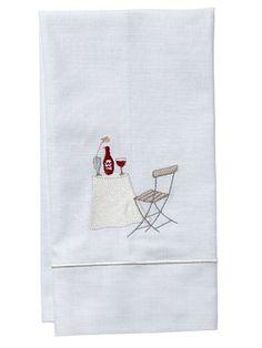 DG84-WT Guest Towel, White Linen, Satin Stitch - Wine Table
