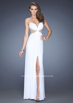 White Long Sheer Insert La Femme 20166 Jeweled Slit Prom Dress
