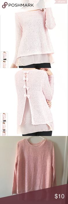 Pink Sequin Bow-Back Tunic Pink Sequin Bow-Back Tunic Simply Couture PRODUCT DESCRIPTION:  Cast in a versatile solid hue and featuring a series of bows along the back, this ultrasoft tunic exudes feminine charm.  55% cotton / 45% acrylic Hand wash Imported simply couture Sweaters Crew & Scoop Necks