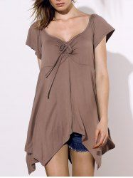 Casual Square Neck Short Sleeve Solid Color Asymmetrical Women's Blouse