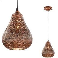 Pendelleuchte im orientalischen Stil aus Metall - Ø 19cm, wählbar in Altmessing, Grau antik oder Kupfer antik | WOHNLICHT