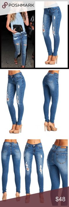 "🆕Destroyed Skinny Jeans Love these destructive skinnies! Perfect amount of stretch and look great on. Look great both rolled Capri style or straight legged with some booties or heels. A closet must have. 30"" inseam. I usually wear a longer length so wear these rolled up and love them, one of my new favorite pairs in my closet!Measurements given upon request. Run true to size. Bundle and save 10%. Jeans Skinny"