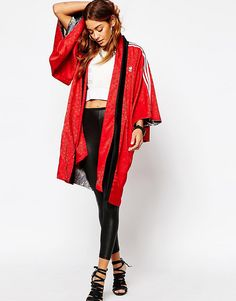 Image 4 of adidas Originals Rita Ora Reversible Kimono In Elegant Print & 3 Stripe
