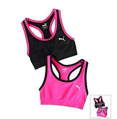 PUMA® Pink/Black 2-pk. Sports Bras http://www.bonton.com/liveactive