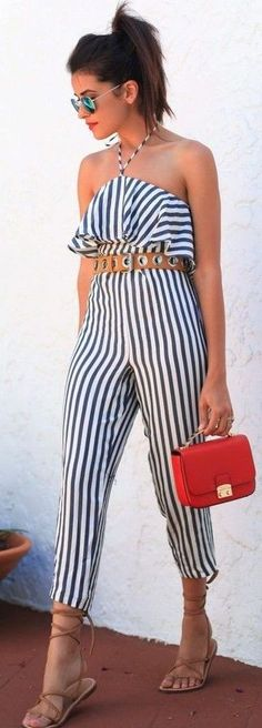 #summer #classy #outfits | Stripe Jumpsuit