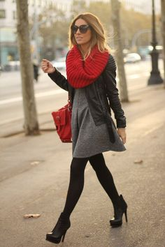 Red Scarf + Grey Dress + Ankle Boots + Leather Jacket