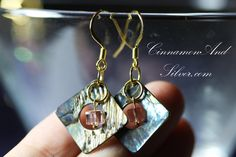 Green and Peach Paua Shell and Crystal Cube Earrings, Shiny Crystal and Paua…