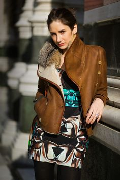 A drapey leather jacket with a hint of fur.