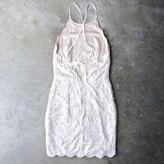 up all night scallop edge lace dress - cream