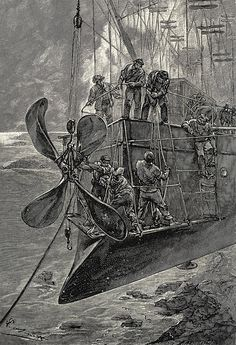 Léon Benett [George Roux], The Clipper of The Clouds: Robur le Conquérant (Robur the Conqueror), Jules Verne, engraved by J. Ladmiral; London, c. 1886.
