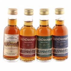 This fine collection of sherry matured miniatures consists of four bottles of malts that were produced at the Speyside Glendronach distillery. Highland Whisky, Distillery, Hot Sauce Bottles, Glass Bottles, Miniatures, Pure Products, The Originals, Collection, Food